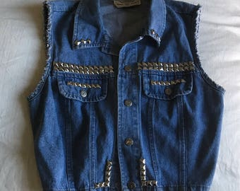 Denim studded crop vest 1980's Small - medium