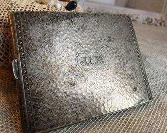Antique 1930s Victorian Silver Plate Monogrammed Calling Card Case. Cigarette Case. Stash Case.