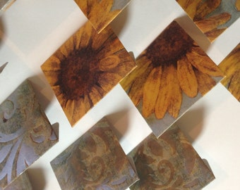 12 Die Cut Sunflower/Paisley Cardstock Mini Envelopes with Scalloped Inserts