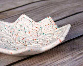Ring Holder - Speckled White Jewelry Dish - Handmade Ceramics - Floral Pattern - Vintage Textile Stamp - Star Dish