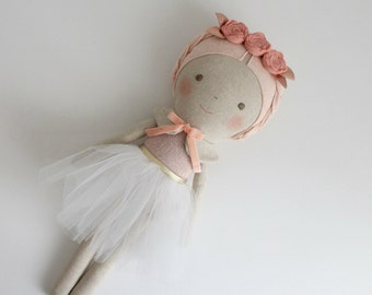 MADE TO ORDER. Pink & gold ballerina doll. Rag doll with a tutu. Gift ideas for girls. Nursery decor. Heirloom doll