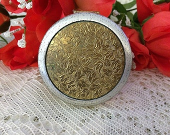 Vintage Gold & Silver Tone Powder Compact Unsigned