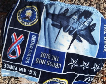 United States Air Force Crocheted Fleece Blanket
