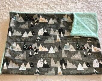 Mountain Baby Blanket, Arrow Baby Bedding, Baby Boy MINKY Blanket, Adventure Awaits Blue Baby Blanket, Personalized Baby Boy Blanket