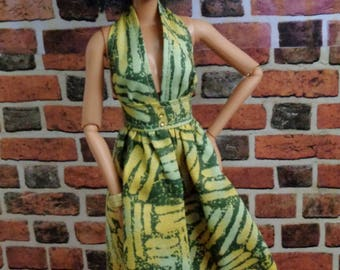 Graphic Print Halter SunDress for Barbie or similar fashion doll