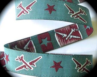 "Jacquard Ribbon - 5/8"" x 3 1/4 yards Slate Blue, Maroon and White"
