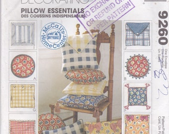 1998 Sewing Pattern - McCall's 9260 Pillow Essentials,  UnCut, Factory Folded