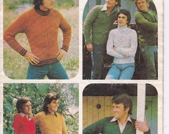 Patons Knitting Pattern No 475 for Men in Totem, Bluebell, Jasmin, Caressa, Columbine, Katie - Vintage 1970's