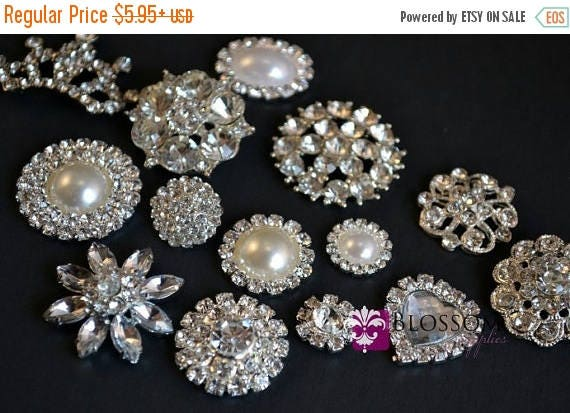 SALE Assorted Rhinestone Metal Embellishment Buttons - Flower Centers - Wedding Bridal Prom Jewels - Vintage Inspired Stones Silver Color Se