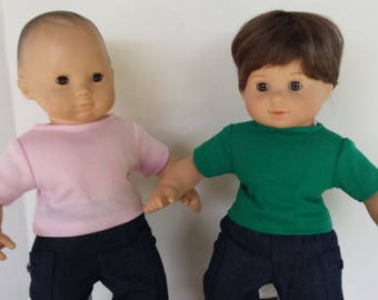"American Girl 15"" Bitty Twins Bitty Baby - Knit T shirts Pink Green"