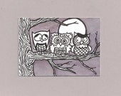 ACEO,  ATC, Owl, March Madness, Original, Art Trading Card, Hand Drawn, Kid Friendly, Black and White