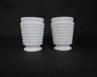 Two Milk Glass Toothpick or Match Holders Pair of Diamond Pattern with Scalloped Tops