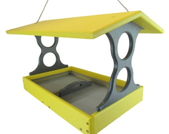 JCs Wildlife Large Yellow/Gray Poly Fly-Thru Bird Feeder w/ Removable Seed Tray