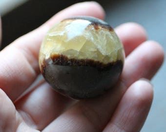 Septarian Nodule, Calcite Barite Palm Stone #82964