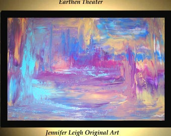 Original Large Abstract Painting Modern Acrylic Painting Oil Painting Canvas EARTHEN THEATER Blue Purple 36x24 Textured Wall Art  J.LEIGH