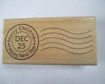 Rubber Stamp Merry Christmas and Happy New Year cancellation new