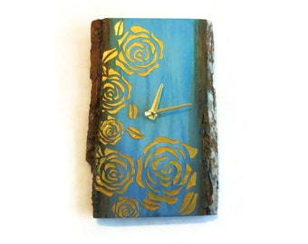 Wall Clocks, Reclaimed Wood Clock, Blue Ombre Watercolor, Gold Roses, Home Decor, Home and Living, Decor and Housewares