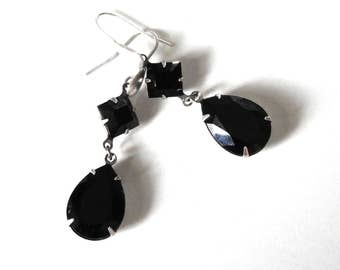 Black Swarovki  Earrings Dangling Silver - Gothic Jewelry - Gothic Wedding Earrings
