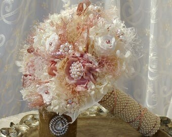 FULL PRICE Rose Gold Wedding Bouquet Blush Ivory Preserved Roses Andrea