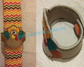 ITH - Napkin Ring - Snap On Turkey Napkin Ring 2 inch tall for a 4x4 hoop - Instant Download