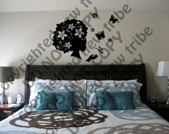 24in Beautiful Floral Afro Girl Wall Decals - Natural Hair, Wall Decal, Afro Hair