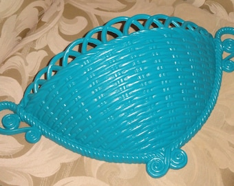 Vintage Large Burwood Homco Home Interior Turquoise Weave Basket Wall Pocket Storage Planter