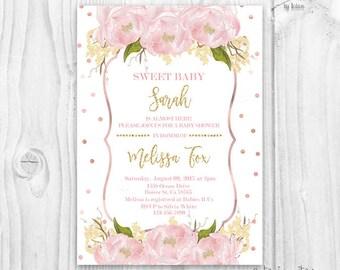 Blush floral Baby Shower Invitation, floral Baby Shower Invitation, Pink and Gold Baby Shower,blush flowers invitation,rose gold baby shower