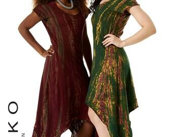 TIE DYE DRESS with pointy hem, long dress, boho dress, pixie dress, game of Thrones dress, goa dress, goth dress, festival clothing, Tddrva