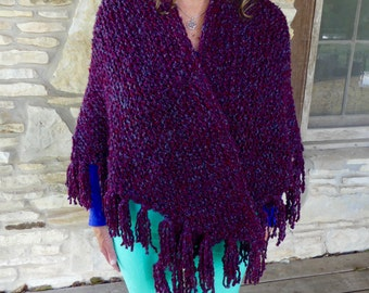 Burgundy and Medium BlueTweed Hand-Knitted Triangle or Prayer Shawl with Shawl Stick
