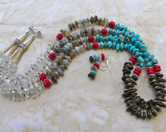 32 Inch Double Strand Four Color Freeform Rondelle and Shell Heishi Southwestern Necklace with Earrings