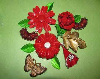 Destash Craft Lot of Vintage Jewelry, Brooches Earrings Enamel Flower Pin