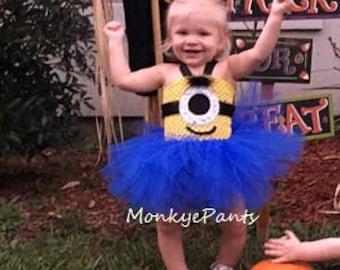 Minion Tutu Dress - Girl Minion Costume - Blue and Yellow Tutu Dress