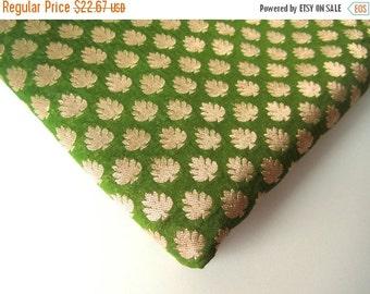 ON SALE Irish green gold silk brocade fabric nr 94 fat quarter