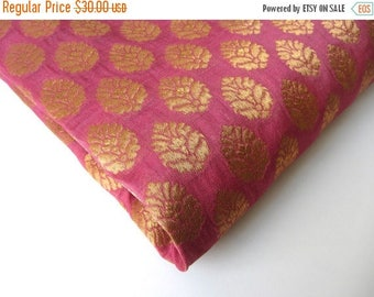 ON SALE Pink Gold flower silk brocade tie silk India silk fabric. fabric nr 167 fat quarter REMNANT