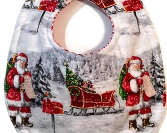 Santa Bib - Christmas Bib - Baby's First Christmas - Vintage Christmas - Santa Claus - Toddler Bib -Baby Boy Bib - Bib Girl - Retro Santa