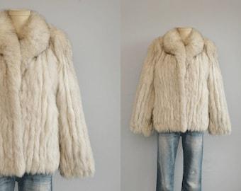 Vintage Fox Fur Coat / 1970s Glam Silver White Arctic Boho Blue Fox Fur Jacket