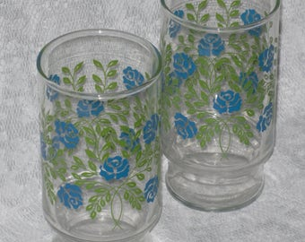 Blue Flowers Green Drinking Glasses Tumblers Pair Set 2 Shabby Floral Vintage