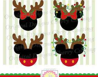 Christmas Reindeer Mouse ears SVG,Christmas Mickey and Minnie Silhouette ,Silhouette & Cricut Cut Files CHSVG29-Personal and Commercial Use