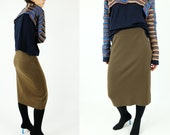 Reserved MASION MARGIELA Standard Olive Green Wool Skirt Dead-stock