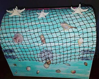 5Dollars OFF SALE, XL Beach Mermaid Treasure Chest Card Box, Nautical Net, Trunk,Sea Stars, Shells-Weddings, Baby Shower, Birthday, Custom