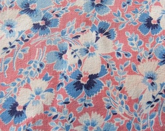 vintage FULL feed sack fabric -- pink and blue floral print