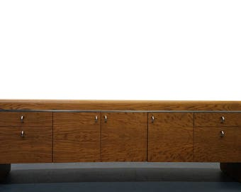 MASSIVE 7.5ft Tiger Oak and Chrome Mid Century Credenza - McCabe Lou Hodges