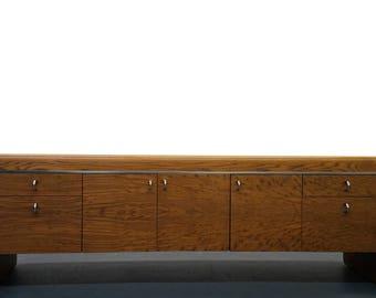 MASSIVE 7.5ft Tiger Oak and Chrome Mid Century Credenza - McCabe Lou Hodges