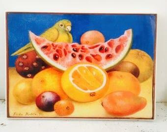 Frida Kahlo Fruit A Lartte Handmade Vintage Wall Tile