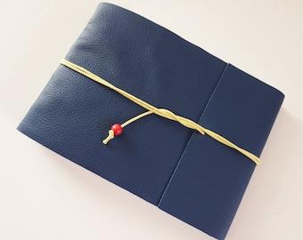 Blue Leather Art Sketchbook, Wrap Artist Journal, Landscape Sketchbook Journal, Leather Art Journal, Hand bound Leather Sketchbook