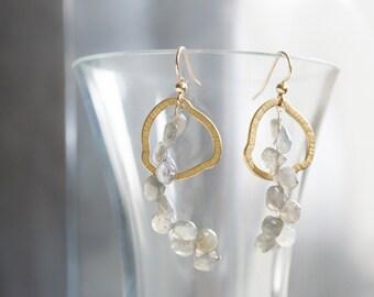 GEMMA earrings, labradorite earrings, long grey dangle earrings, organic earrings, sculptural earrings