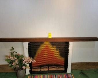 "Reclaimed BarnwoodBeam Fireplace Mantle 96 1/2"" Long Barn Wood Shelf Beam"