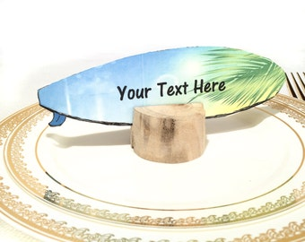 Printable Beach Wedding Place Cards, Surfboard Name Tags, Instant Download PDF
