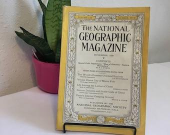 Vintage Magazine, November 1928, National Geographic, free shipping US & Canada