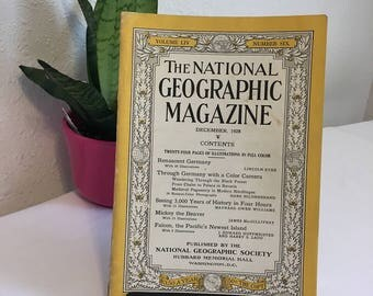 Vintage Magazine, December 1928, National Geographic, free shipping US & Canada